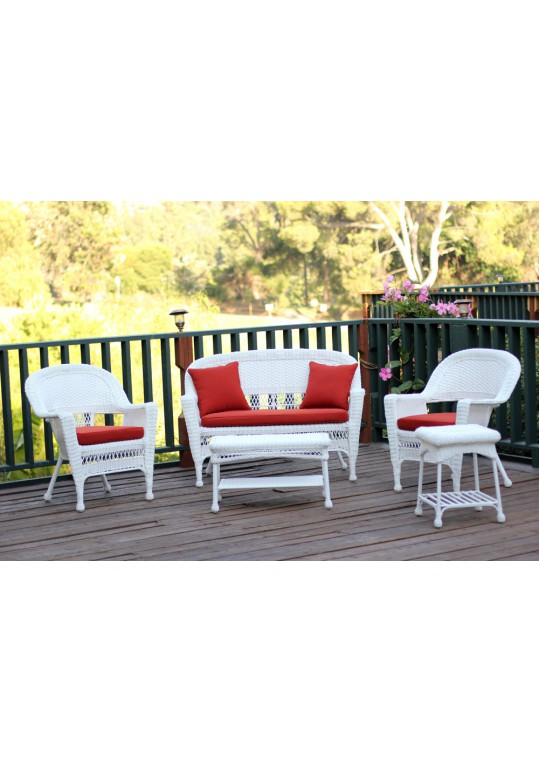 5pc White Wicker Conversation Set - Brick Red Cushions