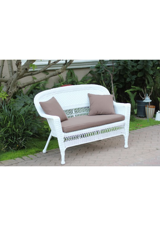 White Wicker Patio Love Seat With Brown Cushion and Pillows