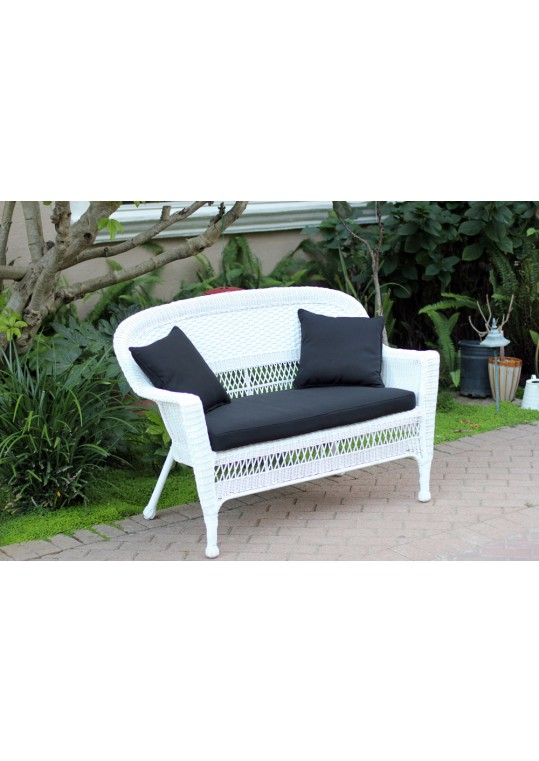 White Wicker Patio Love Seat With Black Cushion and Pillows