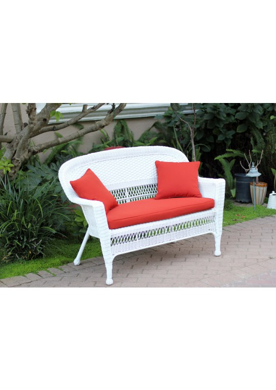 White Wicker Patio Love Seat With Brick Red Cushion and Pillows