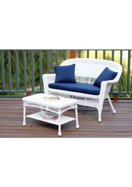 White Wicker Patio Love Seat And Coffee Table Set With Midnight Blue Cushion
