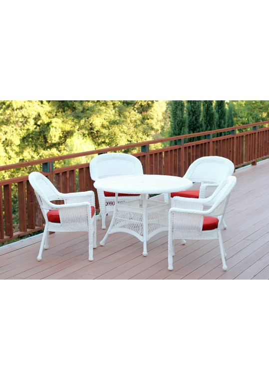 5pc White Wicker Dining Set - Brick Red Cushions