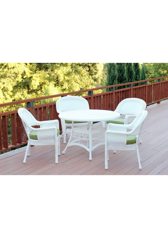 5pc White Wicker Dining Set - Sage Green Cushions