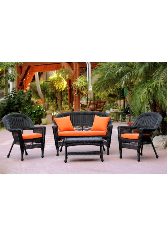 4pc Black Wicker Conversation Set - Orange Cushions