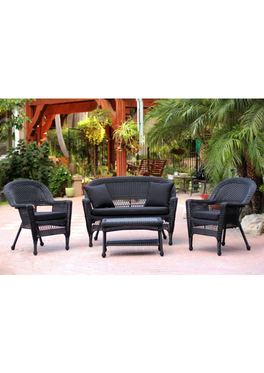 4pc Black Wicker Conversation Set - Black Cushions