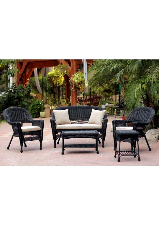 5pc Black Wicker Conversation Set - Tan Cushion