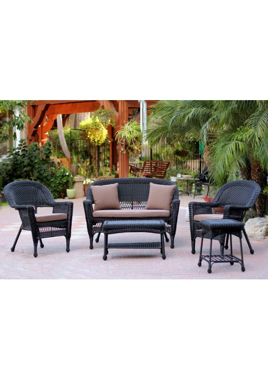 5pc Black Wicker Conversation Set - Brown Cushions