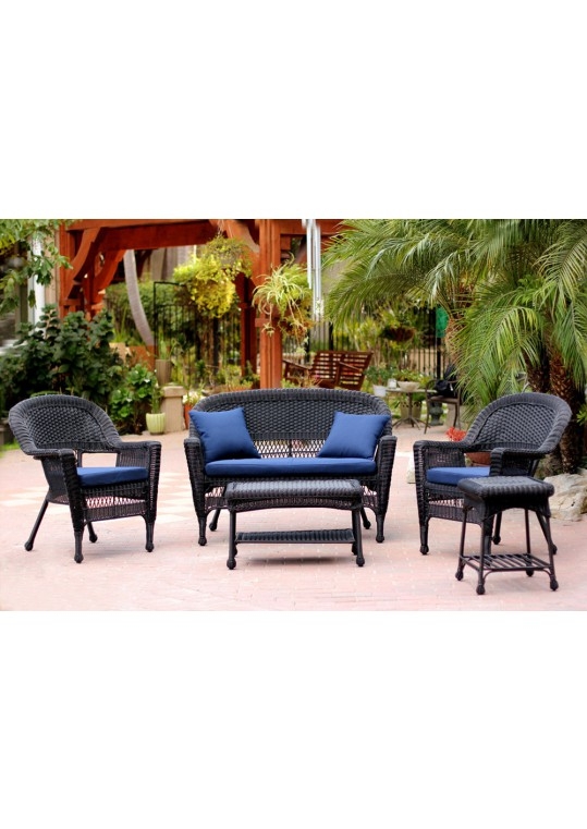 5pc Black Wicker Conversation Set - Midnight Blue Cushions