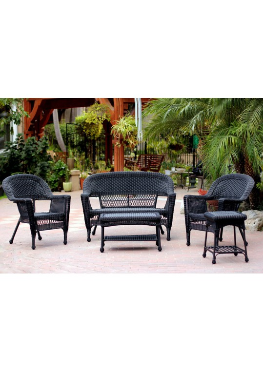 5pc Black Wicker Conversation Set Without Cushion