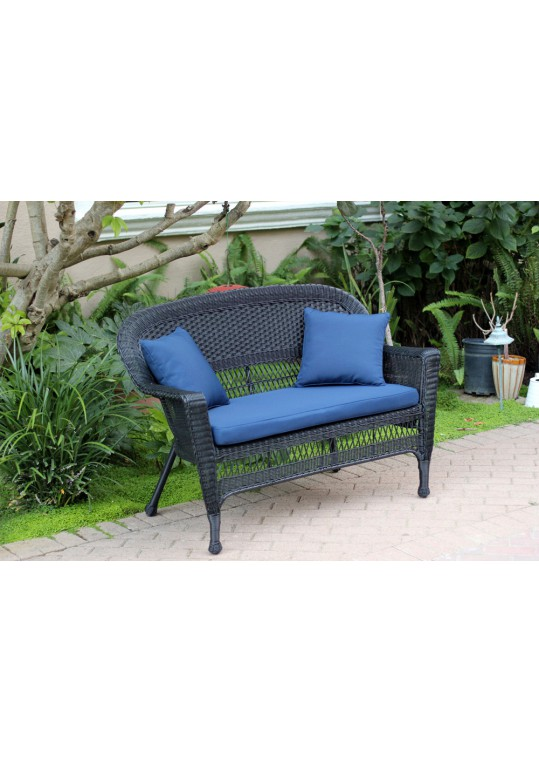 Black Wicker Patio Love Seat With Midnight Blue Cushion and Pillows