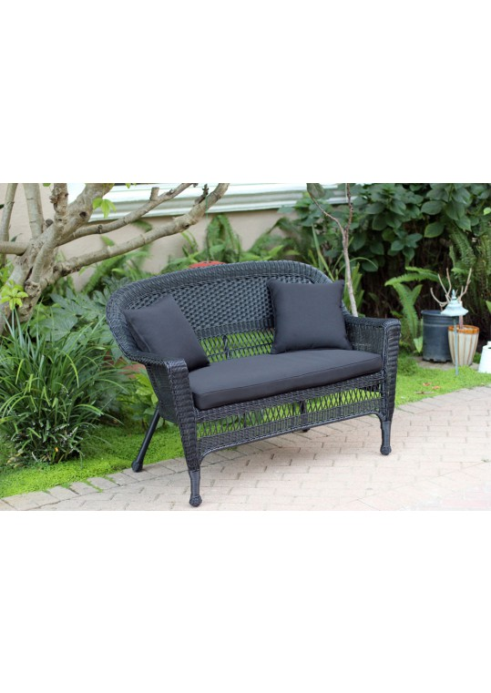 Black Wicker Patio Love Seat With Black Cushion and Pillows