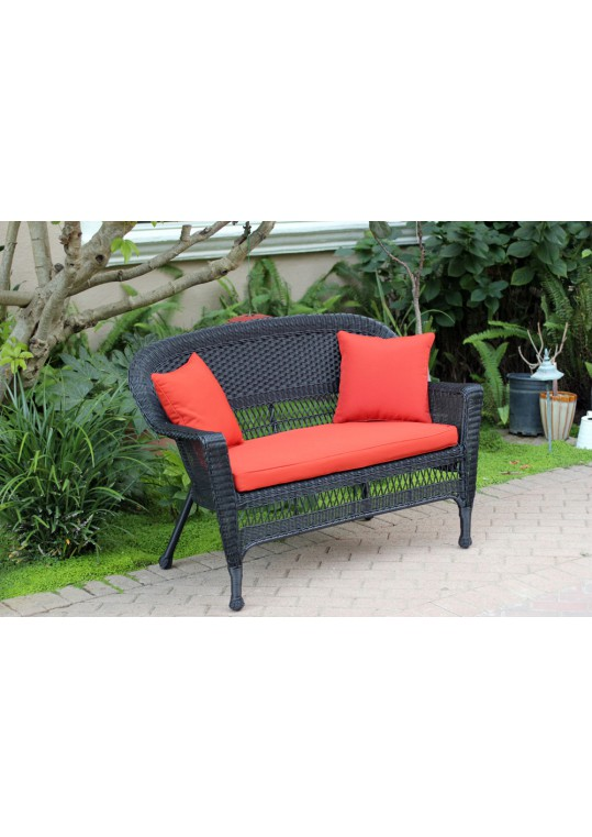 Black Wicker Patio Love Seat With Brick Red Cushion and Pillows