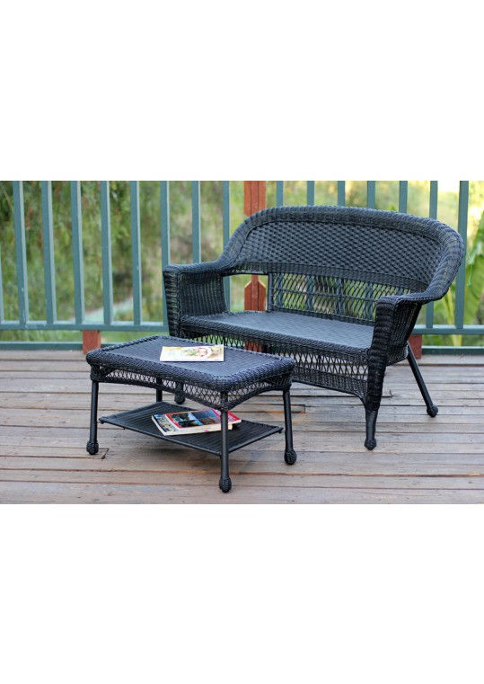 Black Wicker Patio Love Seat And Coffee Table Set Without Cushion