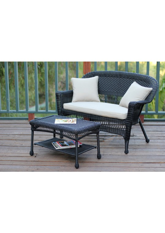 Black Wicker Patio Love Seat And Coffee Table Set With Tan Cushion