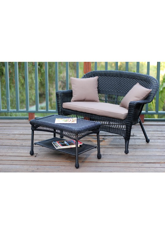 Black Wicker Patio Love Seat And Coffee Table Set With Brown Cushion