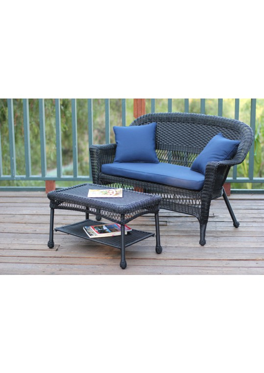 Black Wicker Patio Love Seat And Coffee Table Set With Midnight Blue Cushion