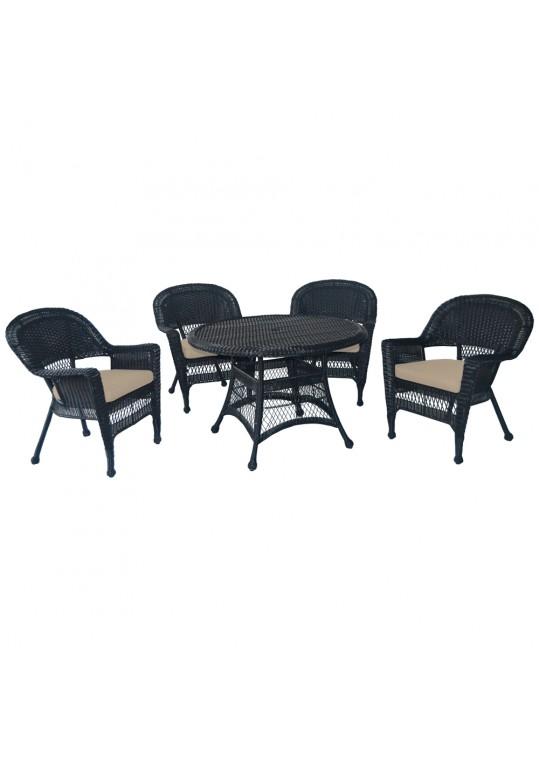 5pc Black Wicker Dining Set - Tan Cushions