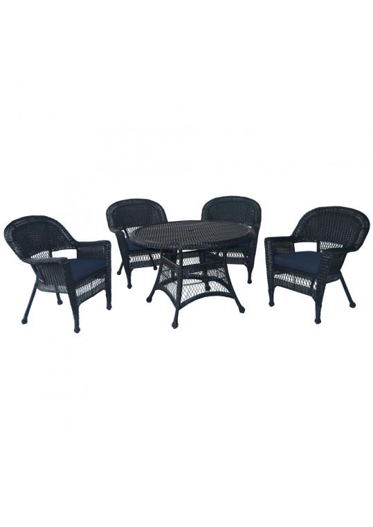 5pc Black Wicker Dining Set - Midnight Blue Cushions