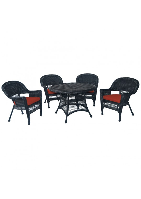5pc Black Wicker Dining Set - Brick Red Cushions