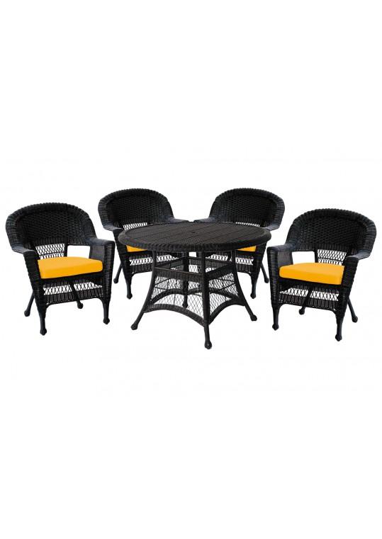 5pc Black Wicker Dining Set - Mustard Cushions