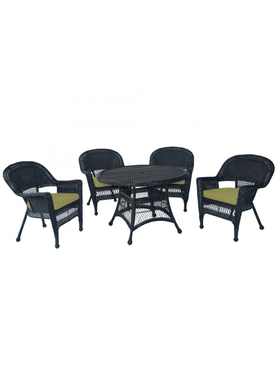 5pc Black Wicker Dining Set - Sage Green Cushions