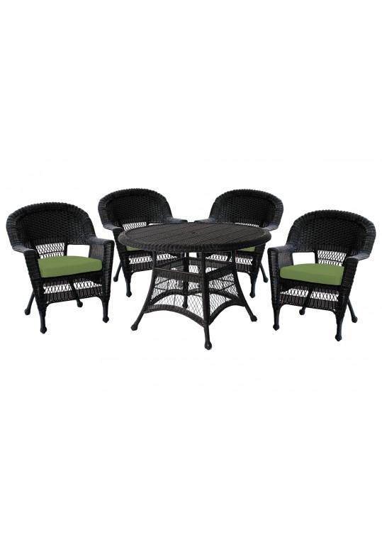 5pc Black Wicker Dining Set - Hunter Green Cushions