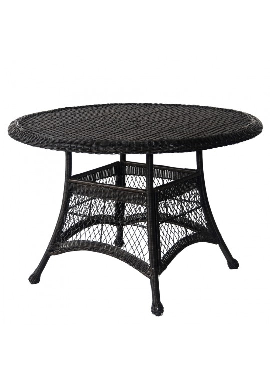 Black Wicker 44 Inch Round Dining Table