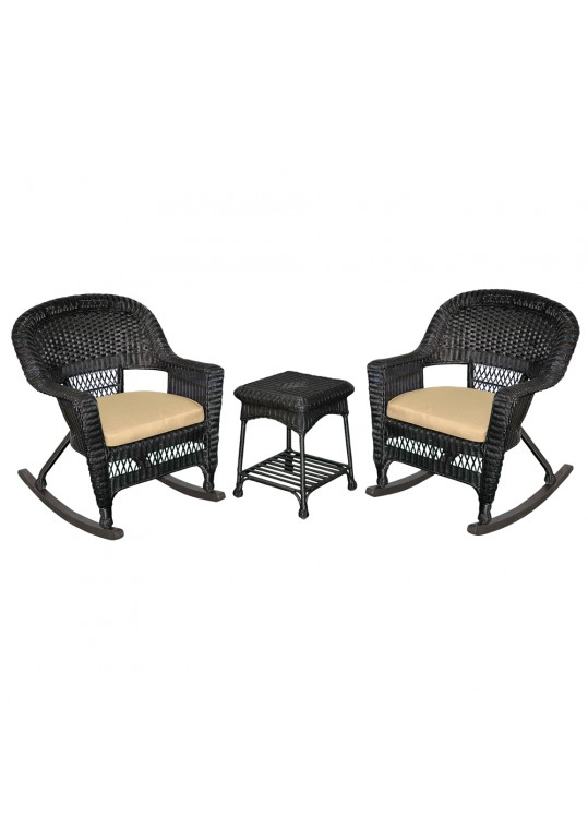 3pc Black Rocker Wicker Chair Set With Tan Cushion
