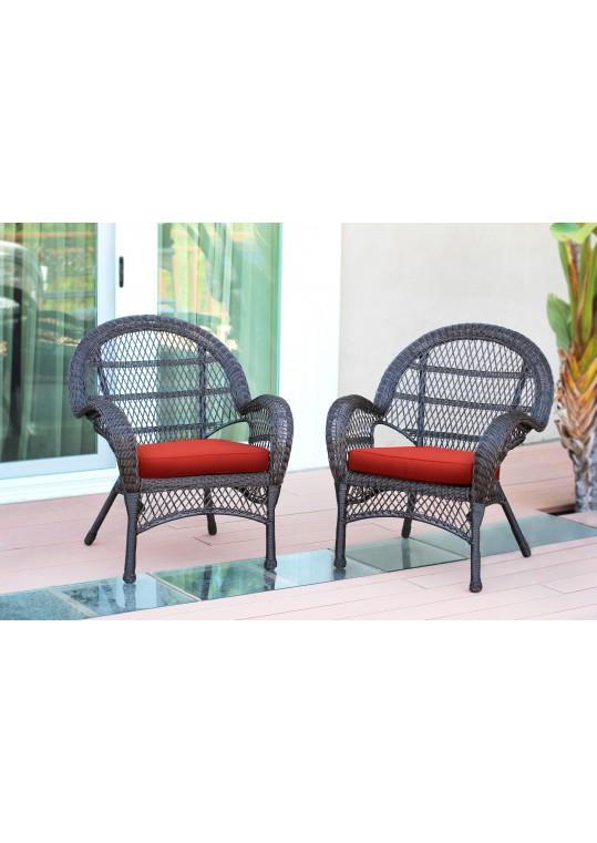 Santa Maria Espresso Wicker Chair with Brick Red Cushion - Set of 2
