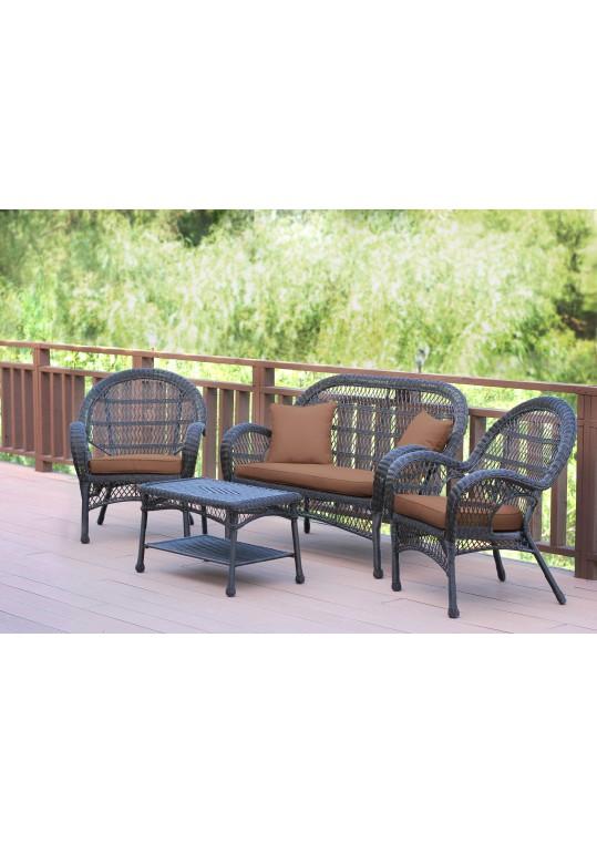 4pc Santa Maria Espresso Wicker Conversation Set - Brown Cushions
