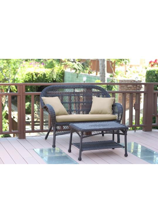 Santa Maria Espresso Wicker Patio Love Seat And Coffee Table Set - Tan Cushion