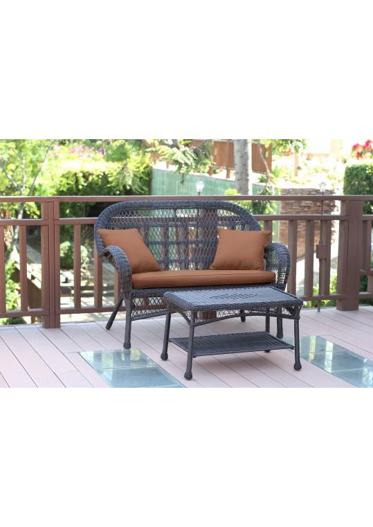 Santa Maria Espresso Wicker Patio Love Seat And Coffee Table Set - Brown Cushion