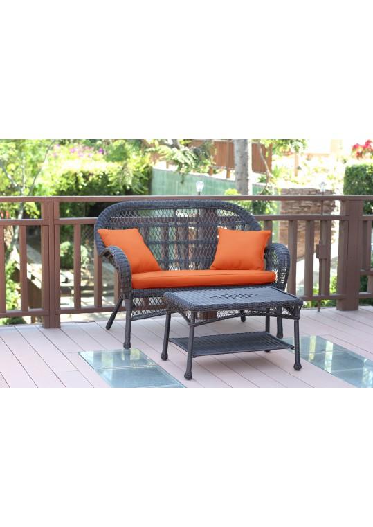 Santa Maria Espresso Wicker Patio Love Seat And Coffee Table Set - Orange Cushion