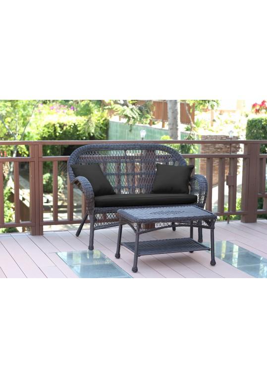 Santa Maria Espresso Wicker Patio Love Seat And Coffee Table Set - Black Cushion