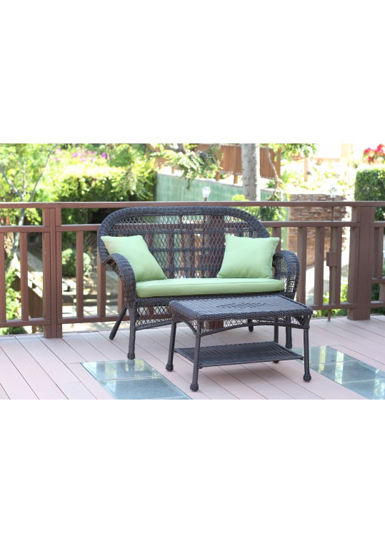 Santa Maria Espresso Wicker Patio Love Seat And Coffee Table Set - Sage Green Cushion