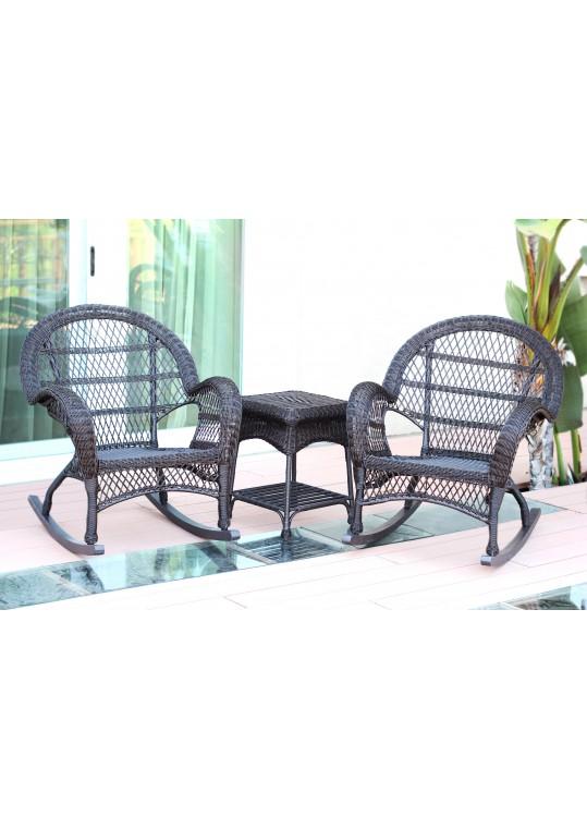 3pc Santa Maria Espresso Rocker Wicker Chair Set Without Cushion