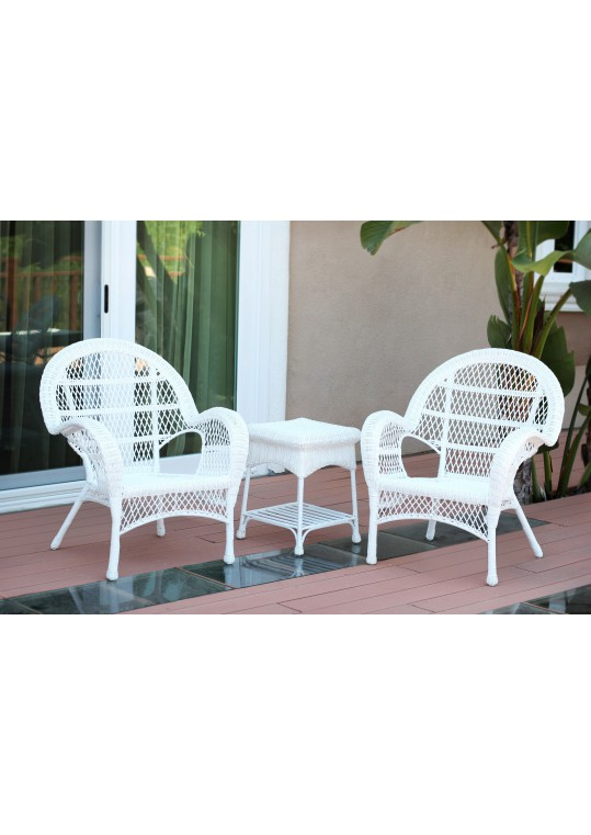 3pc Santa Maria White Wicker Chair Set Without Cushions
