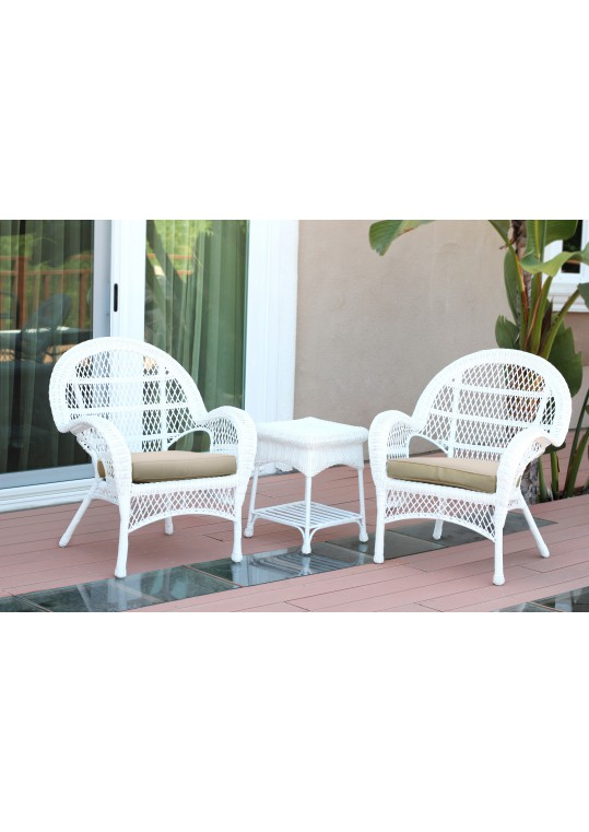 3pc Santa Maria White Wicker Chair Set - Tan Cushions