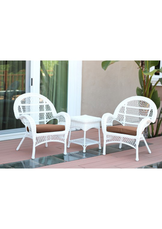 3pc Santa Maria White Wicker Chair Set - Brown Cushions