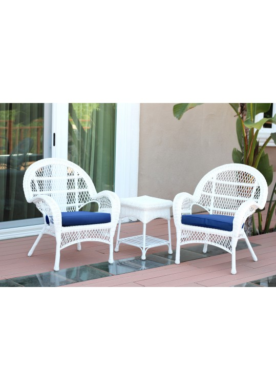 3pc Santa Maria White Wicker Chair Set - Midnight Blue Cushions