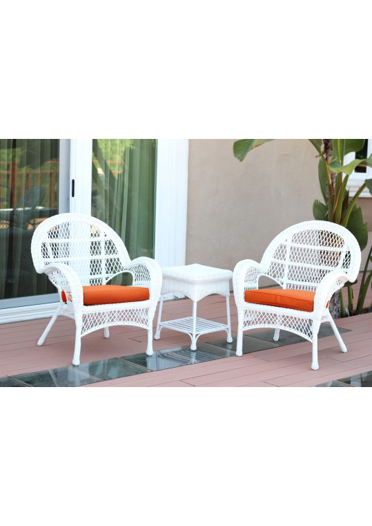 3pc Santa Maria White Wicker Chair Set - Orange Cushions