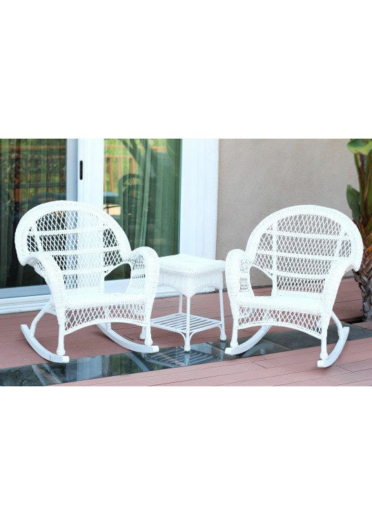3pc Santa Maria White Rocker Wicker Chair Set Without Cushion