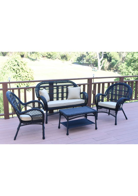 4pc Santa Maria Black Wicker Conversation Set - Tan Cushions