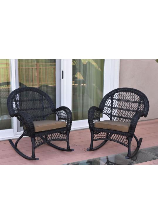 Santa Maria Black Wicker Rocker Chair with Brown Cushion - Set of 2