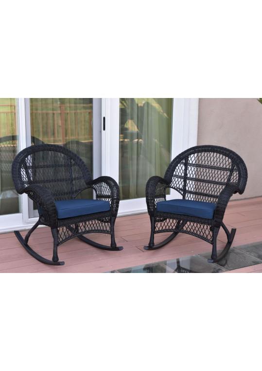 Santa Maria Black Wicker Rocker Chair with Midnight Blue Cushion - Set of 2