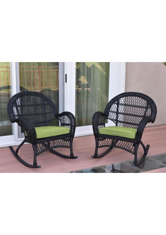 Santa Maria Black Wicker Rocker Chair with Sage Green Cushion - Set of 2
