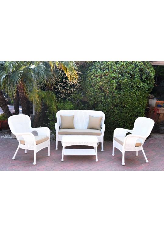 4pc Windsor White Wicker Conversation Set - Tan Cushions