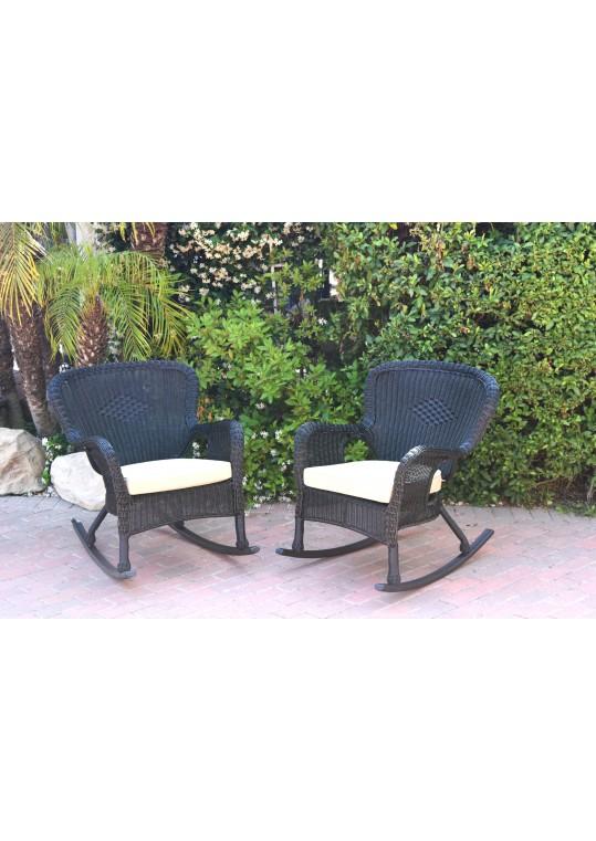 Set of 2 Windsor Black  Resin Wicker Rocker Chair with Tan Cushions