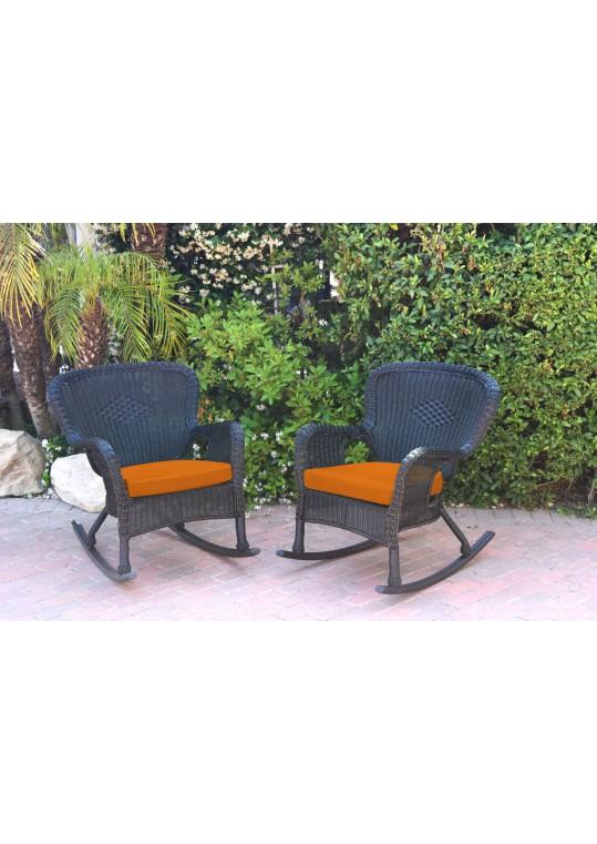Set of 2 Windsor Black  Resin Wicker Rocker Chair with Orange Cushions