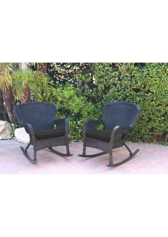 Set of 2 Windsor Black  Resin Wicker Rocker Chair with Black Cushions